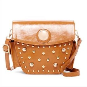 PINK HALEY STUDDED CROSSBODY IN BROWN